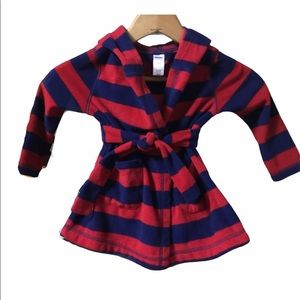 Old Navy fleece rugby stripe robe 2t